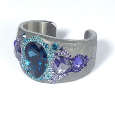 Swarovski Crystal PONY BANGLE Cuff Ocean Blue & Purple Crystals 1110336 - Zhannel