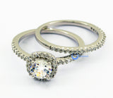 1ct Engagement Wedding Set 2 RINGS Signity CZ Rhodium over Sterling Silver - Zhannel  - 3
