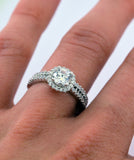 1ct Engagement Wedding Set 2 RINGS Signity CZ Rhodium over Sterling Silver - Zhannel  - 4