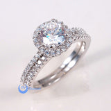 1ct Engagement Wedding Set 2 RINGS Signity CZ Rhodium over Sterling Silver - Zhannel  - 1