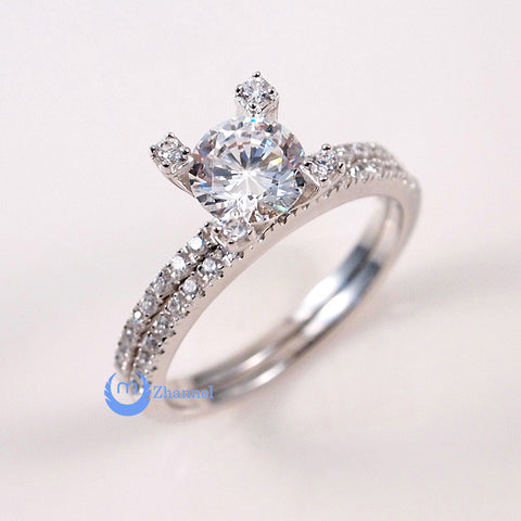 1.25ct Engagement Tower Wedding RINGS Set Signity CZ Rhodium Sterling Silver - Zhannel  - 1