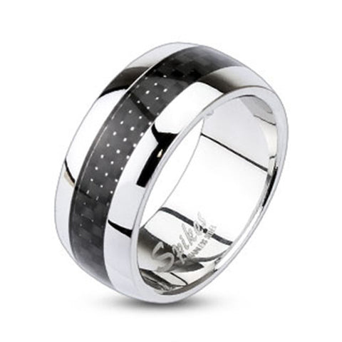 9mm Carbon Fiber Inlay Center Dome Band Ring 316L Stainless Steel Men's Ring - Zhannel