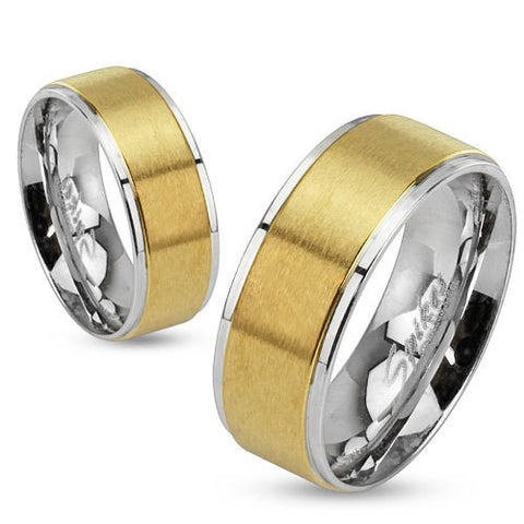 8mm Step Edges Two Tone Brushed Gold IP Center Stainless Steel Band Men's Ring - Zhannel