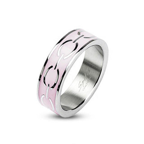 6mm Pink Enamel Love Links Ring Band 316L Stainless Steel Women's Ring - Zhannel