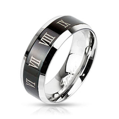 8mm Center Black IP with Roman Numerals Beveled Edge Band Ring Stainless Steel - Zhannel