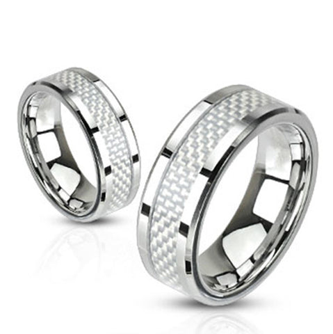8mm White Carbon Fiber Inlay Band Ring Stainless Steel Men's Wedding Band - Zhannel