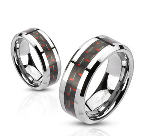 8mm Black and Red Carbon Fiber Inlay Band Ring Stainless Steel Men's Band - Zhannel