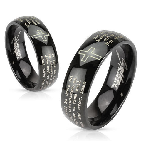 8mm Cross and Lords Prayer Black IP Stainless Steel Dome Band Men's Ring - Zhannel
