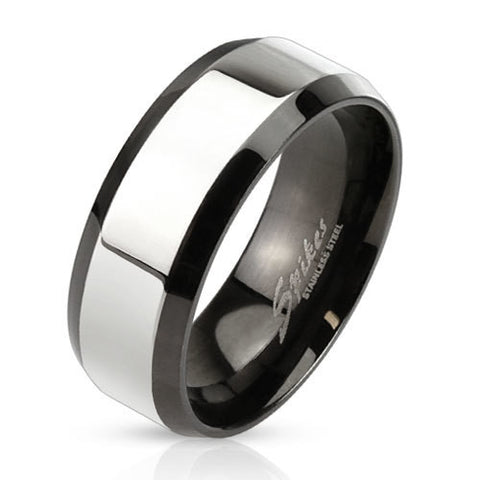 8mm Glossy Center with Beveled Edge Two Tone Stainless Steel Band Men's Ring - Zhannel