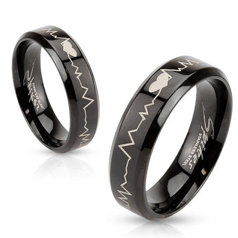 Heartbeat Laser Etched Stainless Steel Black IP Band Men Women Unisex Ring - Zhannel