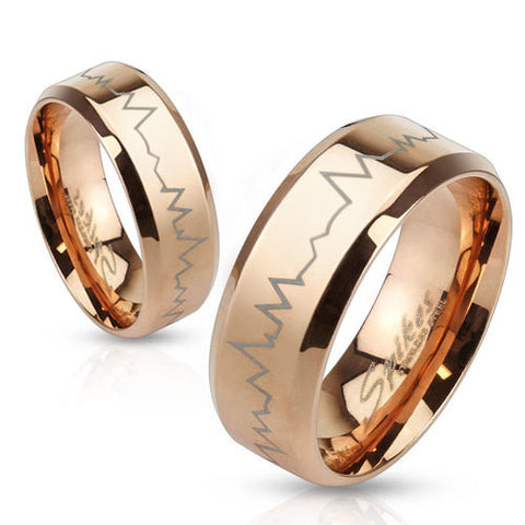8mm Heartbeat Laser Etched Stainless Steel Rose Gold IP Band Men's Ring - Zhannel