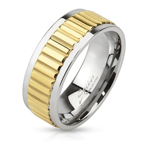 8mm Groove Lined Gold IP Center Stainless Steel Band Men's Fashion Ring - Zhannel