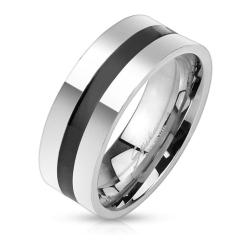 8mm Black Line Centered Stainless Steel Band Men's Ring - Zhannel
