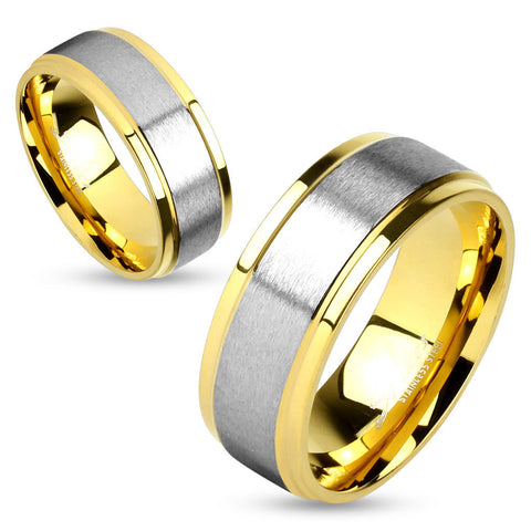 8mm Two Tone Soft Brushed Metal Center Step Edge Gold IP Stainless Steel Men's Ring - Zhannel