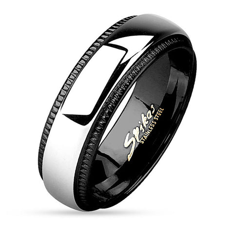 8mm Milled Edge Two Tone Black IP Stainless Steel Band Men's Ring - Zhannel