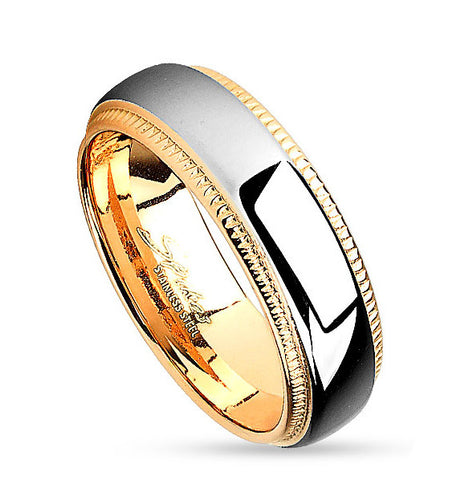 6mm Milled Edge Two Tone Gold IP Stainless Steel Women's Ring Wedding Band - Zhannel
