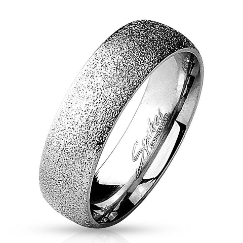 6mm Sand Sparkle Finish Dome Surface 316L Stainless Steel Wedding Band 5-12 - Zhannel