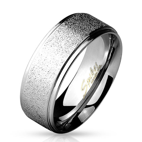 8mm Sand Finish Center w/Shiny Polished Stepped Edges 316L Stainless Steel Men's Ring - Zhannel