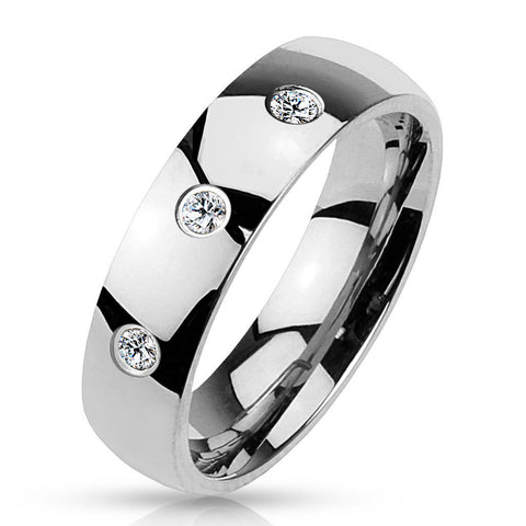 4mm 3 CZ Set Classic Dome 316L Stainless Steel Wedding Band Women's Ring - Zhannel
