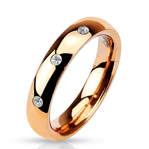 4mm 3 Clear CZ Set Classic Dome Rose Gold IP 316L Stainless Steel Wedding Band - Zhannel