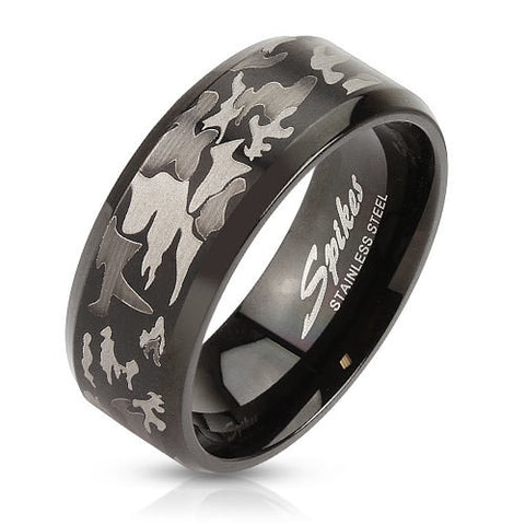Camouflage Laser Etched Black IP Over Stainless Steel Band Men's Ring - Zhannel