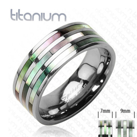 9mm Triple Abalone Inlayed Ring Solid Titanium Band Men's Ring - Zhannel