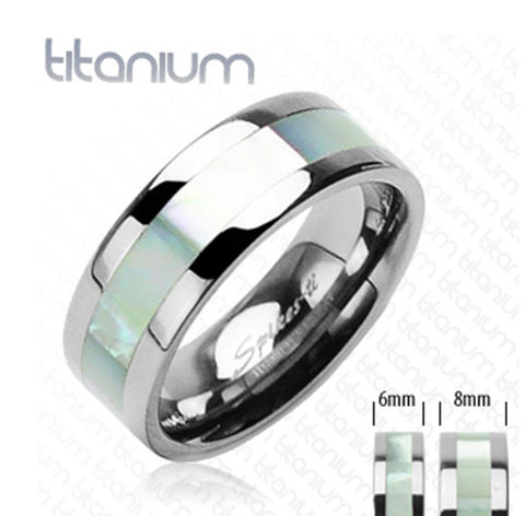 6mm Mother of Pearl Inlayed Band Ring Solid Titanium Women' Ring - Zhannel