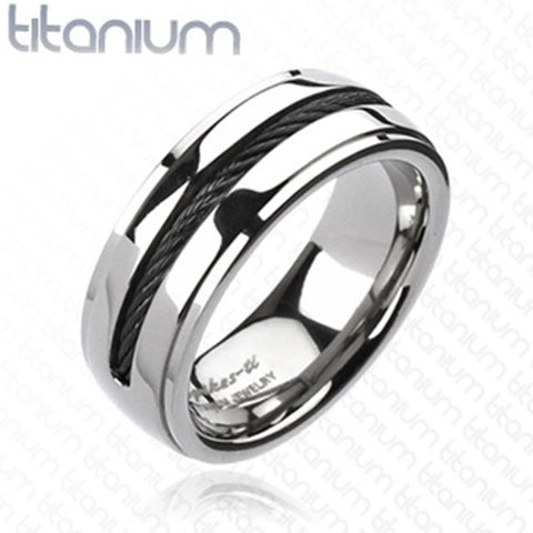 8mm Chain Inlay Black IP Band Ring Solid Titanium Men's Ring - Zhannel