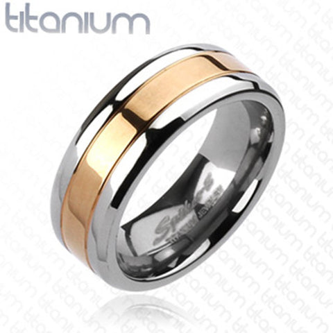8mm Center Rose Gold IP Band Ring Solid Titanium Men's Ring Wedding band - Zhannel