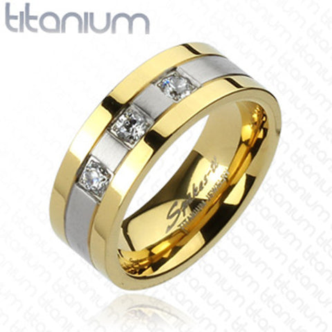 8mm 3 CZs with Gold IP Edges 2-Tone Brushed Center Ring Solid Titanium - Zhannel