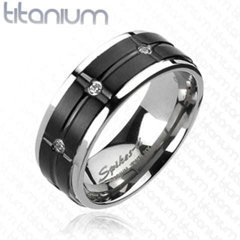 8mm Grooved Black IP Center Multi-CZs Ring Solid Titanium Men's Ring - Zhannel