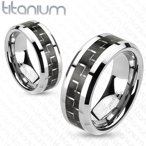 8mm Black Carbon Fiber Inlay Band Ring Solid Titanium Men's Ring - Zhannel