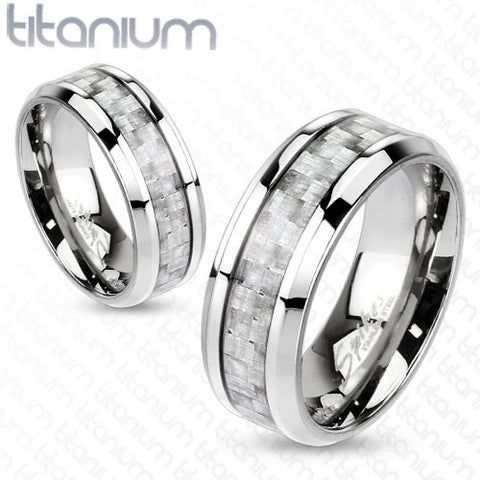 6mm Silver Carbon Fiber Inlay Center Band Ring Solid Titanium Women's Ring - Zhannel