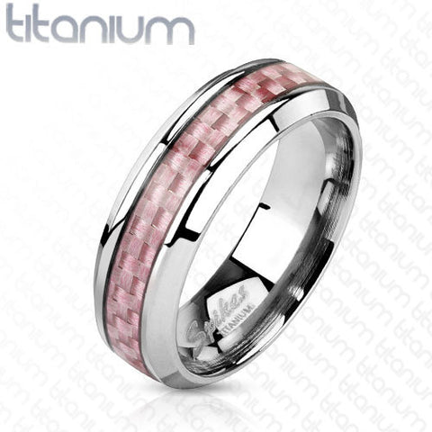 6mm Pink Carbon Fiber Inlay Band Ring Stainless Steel Women' Ring