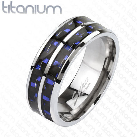 8mm Blue Carbon Fiber Inlay with Slit Center Band Ring Solid Titanium Men's Ring - Zhannel