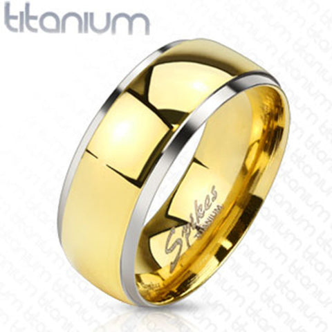 8mm Smooth Stepped Edge with Gold IP Dome Band Ring Solid Titanium Men's Ring - Zhannel