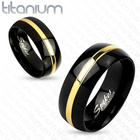 8mm Two Tone Gold Line Center Black IP Titanium Men's Ring Wedding Band - Zhannel