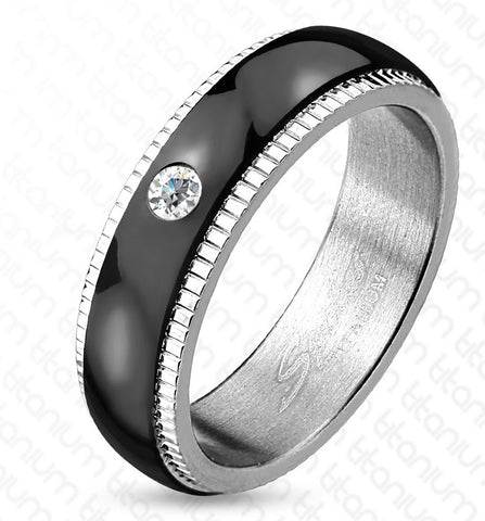 6mm Grooved Step Edge Black IP Solitaire CZ Titanium Men's Ring Wedding Band - Zhannel