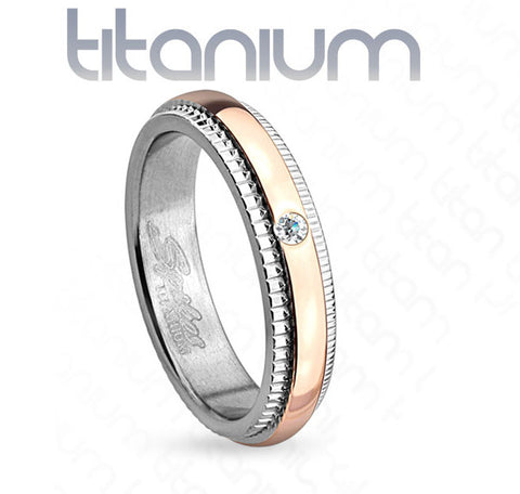 4mm Grooved Step Edge Solitaire CZ Rose Gold IP Titanium Women's Ring Wedding Band - Zhannel