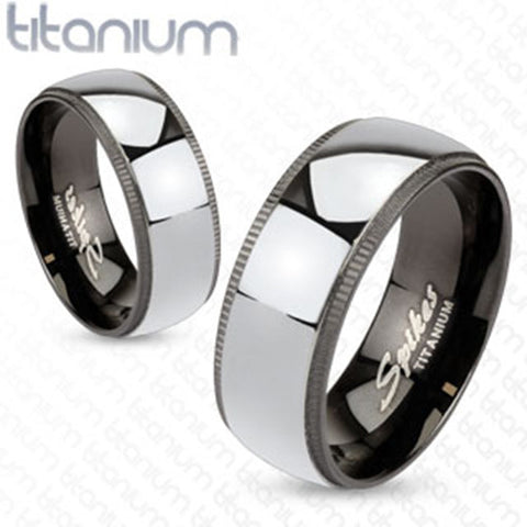 8mm Grooved Edges Black Titanium with Solid Titanium Center Band Men's Ring - Zhannel