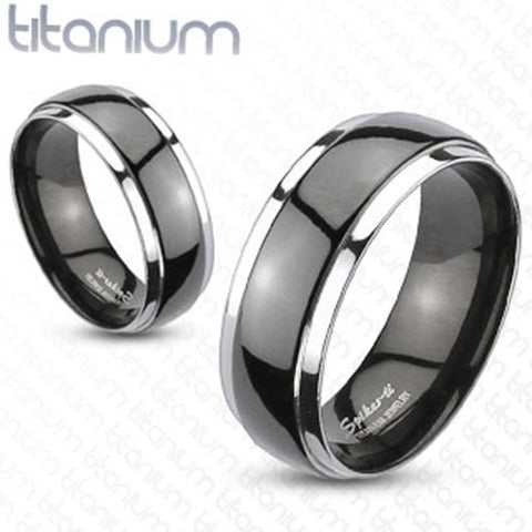 8mm Dome 2-Tone Black Band Ring Solid Titanium Wedding Band Men's Ring - Zhannel