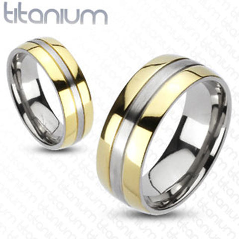 8mm 2-Tone Gold IP Edges Band Ring Solid Titanium Wedding Band Men's Ring - Zhannel