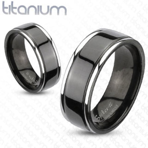 8mm Center Grooved 2-Tone Black IP Wedding Band Solid Titanium Men's Ring - Zhannel