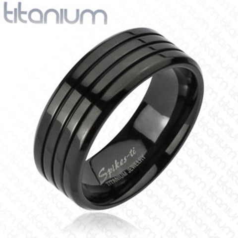 8mm Multi Groove Black IP Band Ring Solid Titanium Men's Fashion Ring - Zhannel