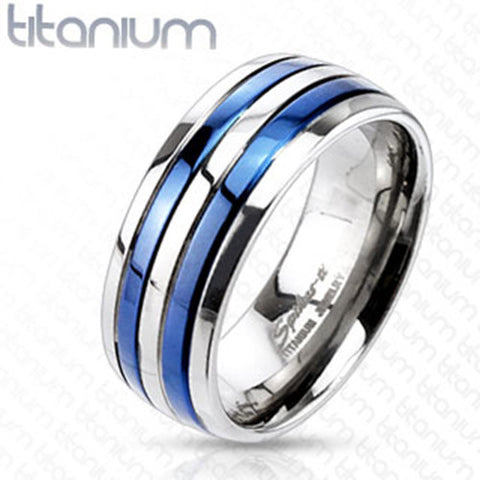 8mm Double Striped Blue IP Band Ring Solid Titanium Men's Ring - Zhannel