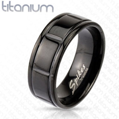 8mm Box Grooved Solid Titanium Black IP Band Men's Ring - Zhannel