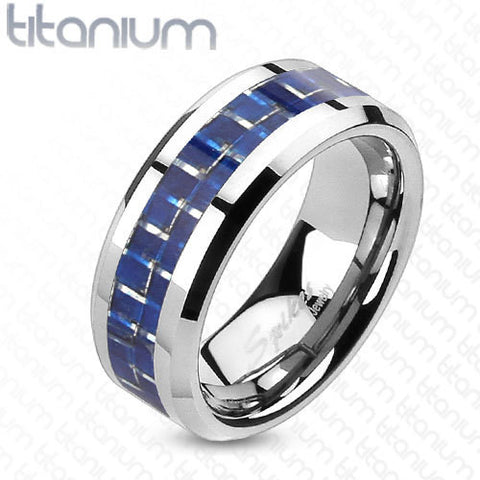 8mm Blue Carbon Fiber Inlay Ring Solid Titanium Men's Ring - Zhannel