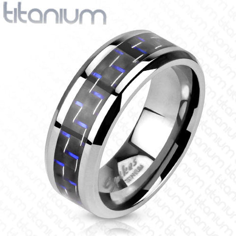 8mm Black with Blue Stripe Carbon Fiber Inlay Band Ring Solid Titanium Men's Ring - Zhannel