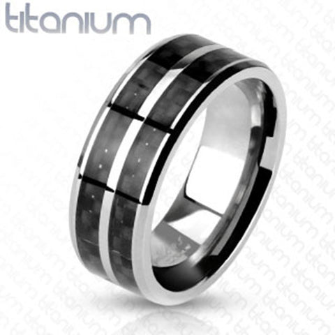 8mm Black Carbon Fiber Inlay with Slit Center Band Ring Solid Titanium Men's Ring - Zhannel
