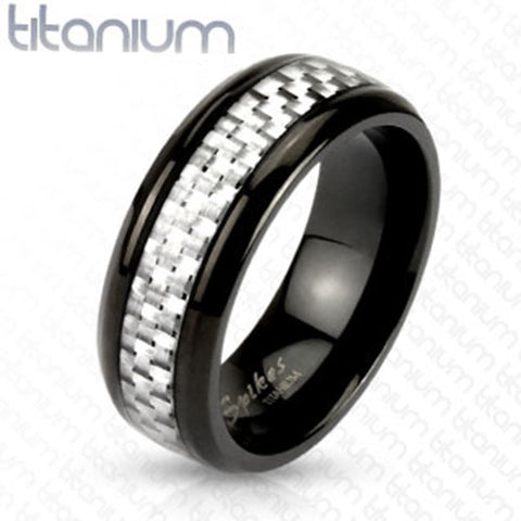 8mm White Silver Carbon Fiber Inlay Center Band Ring Black IP Titanium Men's Ring - Zhannel
